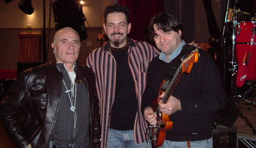 photo of luca mattioni with angelo anastasio and a italian singer edoardo vianello