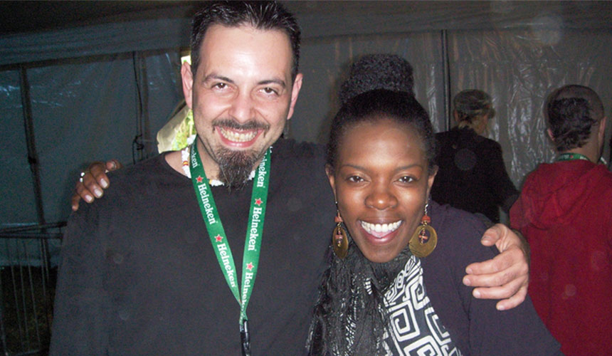 photo of luca mattioni with the american singer jhelisa anderson