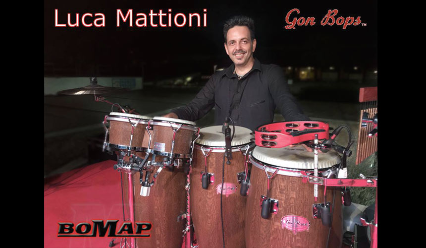 picture of luca mattioni with gon bops percussions