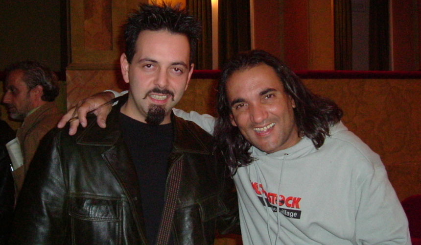 picture of luca mattioni with the drummer horacio el negro hernandez