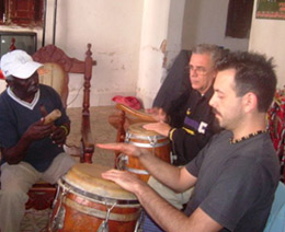 photo of luca mattioni while studying in cuba with percussionist master