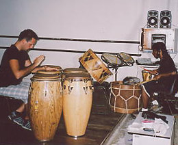 photo of luca mattioni while studying with percussionist valdinei sacramento